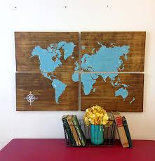 large wooden world map aqua rustic world map map art home