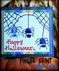halloween finger print spider card craft for kids party ideas