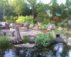cozy backyard koi pond ideas combined with lush vegetation and