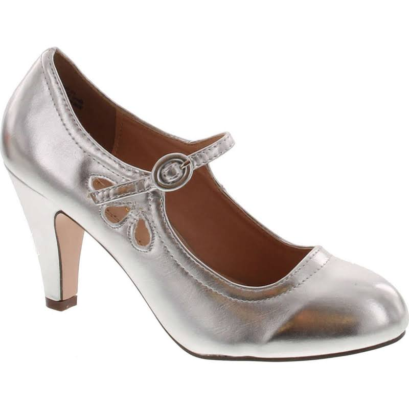 Chase & Chloe Kimmy-21 Round Toe Mid Heel Mary Jane Pumps-Shoes Pumps,Light Silver,8
