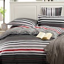 Red Duvet Set Aliexpress Com Buy Grey And Red Stripes Printing 4pc Bedding Set