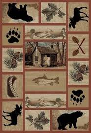 Moose Area Rugs Lodge Cabin Moose Pinecone Area Rug Free Shipping Ebay
