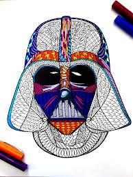 darth vader helmet pdf zentangle coloring page