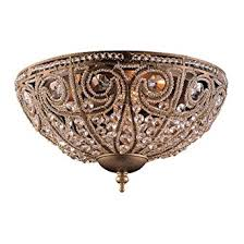 Crystal Flush Mount Ceiling Light Fixture by Elk Elizabethan 3 Light Flush Mount Ceiling Fixture Dark Bronze