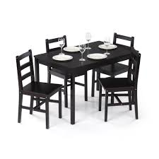 ikayaa modern 5pcs pine wood kitchen dining table and 4 chairs set