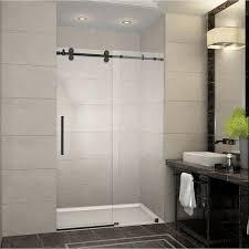 48 Inch Glass Shower Door Aston Langham 48 In X 75 In Completely Frameless Sliding Shower