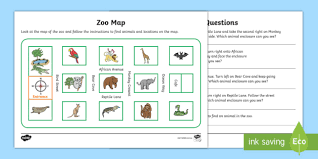 zoo map activity sheet mathematics year 1 year 2