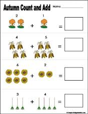 preschool and kindergarten fall math worksheets learn play