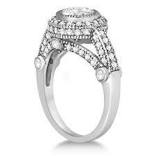 vintage diamond halo art deco engagement ring 14k white gold 0 97ct