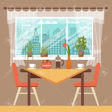 dining table with chairs and coffee cups near window curtains