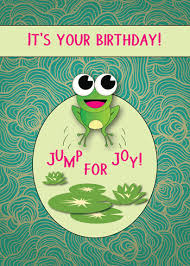 cute card with frog jumping for joy free happy birthday ecards