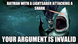 Funny Batman Meme - batman with a lightsaber attacking a shark funny meme image