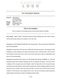 Free Press Release Templates templates 盪 press release