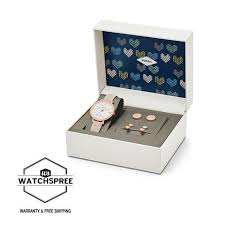 and jewelry fossil jacqueline three date blush leather and jewelry box set