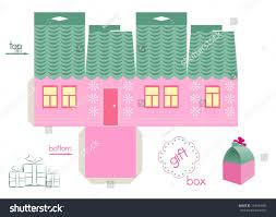 pink house gift box template gift stock vector 193449083