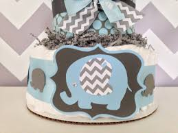chevron elephant diaper cake blue and gray baby shower centerpiece