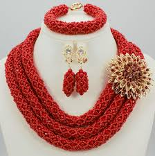 red big necklace images 3 layer red color lovely coral beads big size women wedding jpg