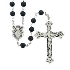 sacred heart rosary sterling silver onyx sacred heart rosary the catholic company