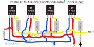 transistor current booster wiring diagram power supply