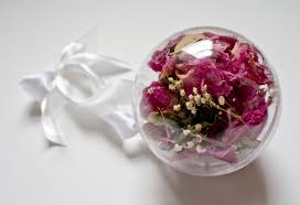 dried wedding flowers in a christmas ornament diy decorations