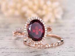 red jewelry rings images 8x10mm oval cut natural red garnet ring set diamond halo jpg