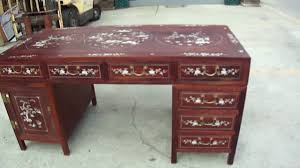 Chinese Desk Chinese Red Wood Mother Of Pearl Inlay Pedestal Writing Desk Table
