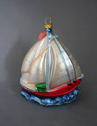 vintage large blown glass sailboat ornament in x