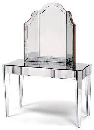 Mirror Vanity Furniture Harlow Vanity Table 3 Drawer Mirrored Contemporary Bedroom