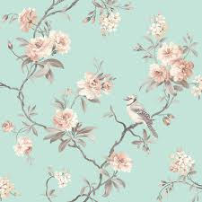 fine decor chic floral chinoiserie bird wallpaper in grey teal