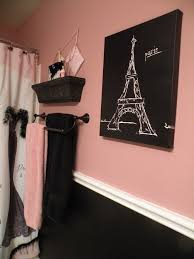 Bath Wall Decor by Black And Pink Paris Bathroom Shower Curtain And Accessories From