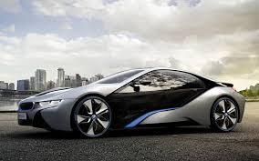 Bmw I8 Silver - beautiful silver bmw i8 in the background of the city i8 photo