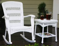 White Wicker Outdoor Patio Furniture Plantation Coastal White Wicker Outdoor Rocking Chair
