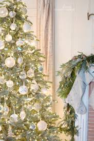 White Christmas Tree With Blue Decorations White U0026 French Blue Sparkle Christmas Tree French Country Cottage
