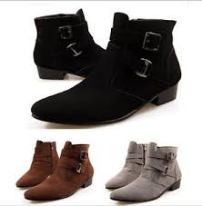 men u0027s casual suede buckle side zip pointed high top ankle boots