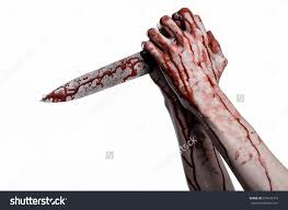 halloween theme on white background bloody hand holding a knife a large bloody knife bloody theme a