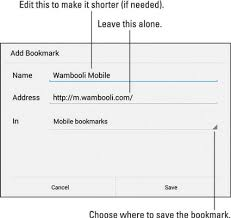 bookmarks on android how to bookmark a web page on your android tablet dummies