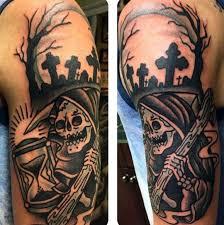 black and white skeleton on shoulder with