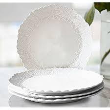 dinner plates accent plates set 4 scalloped embossed