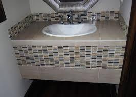 Tiled Vanity Tops Tiled Vanity W Glass Tile Eclectic Bathroom Vanities And Sink