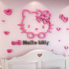 hello kitty bedroom decor 3d hello kitty wall sticker acrylic mirror surface background kids