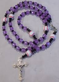 purple rosary baseball sports rosaries and blue and white