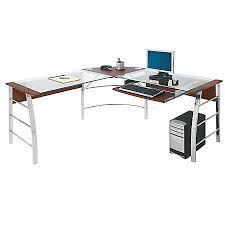 Realspace Mezza L Shaped Glass Computer Desk CherryChrome by Office