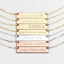 personalized wedding plate personalized necklace name plate bar gold necklace