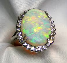crystal opal rings images Ladies semi crystal solid opal ring in 14k white gold surrounded jpg