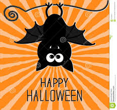 cute bat sunburst background happy halloween card flat design