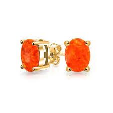 opal october gold vermeil gemstone opal october birthstone stud earrings