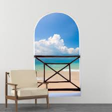 arch balcony 3d wall mural huge size clear sky above the ocean arch balcony 3d wall mural huge size clear sky above the ocean removable peel and stick fabric decal