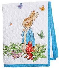 peter rabbit story book white blue border children u0027s throw 38
