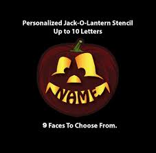 personalized pumpkin stencil name in pumpkin mouth