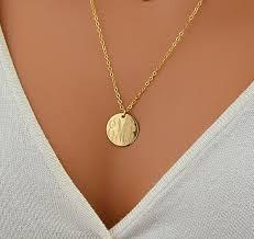 Necklace Monogram Large Disc Necklace Monogram Necklace Gold Necklace Circle